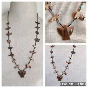 Native American fetish necklace carved animals